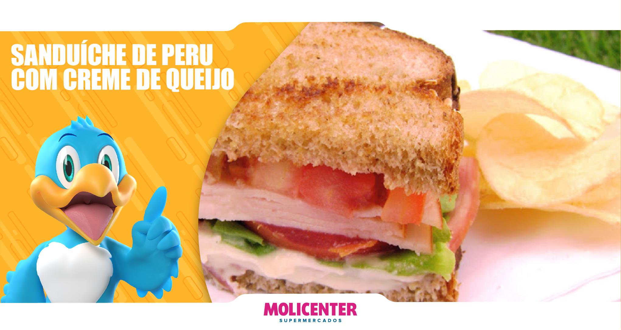Sanduíche de Peru com Creme de Queijo