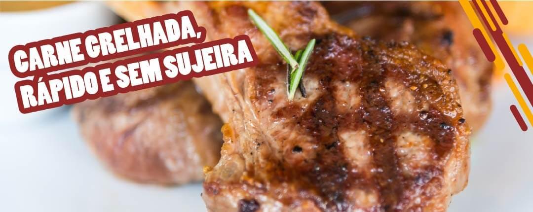 Carne grelhada, rápido e sem sujeira